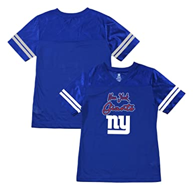 Outerstuff New York Giants Primary Logo Blue Dazzle Girls Youth Jersey  (Medium 10 12 b6edf35b0