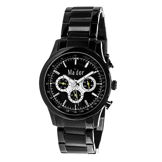 Mador MAM-554 - Reloj de cuarzo con correa de acero inoxidable para hombre, color negro: Amazon.es: Relojes