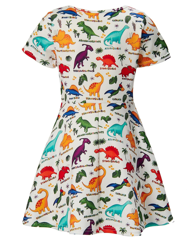 RAISEVERN Girls Summer Short Sleeve Dress Dinosaurs Printing Casual Dress Kids 8-9 Years by RAISEVERN (Image #1)
