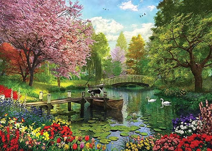 White Mountain Puzzles Forest Lake - 1000 Piece Jigsaw Puzzle