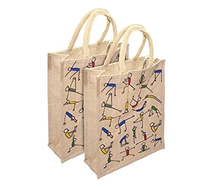 4853fe730 UNITEV Multipurpose Beige Jute Lunch Bag (12X5X10 Inch) - 2 Pack  Amazon.in   Home   Kitchen