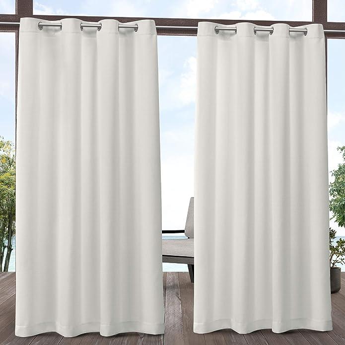 """84""""x54"""" Delano Heavyweight Textured Indoor/Outdoor Grommet Top Light Filtering Window Curtain Panel Vanilla White - Exclusive Home"""