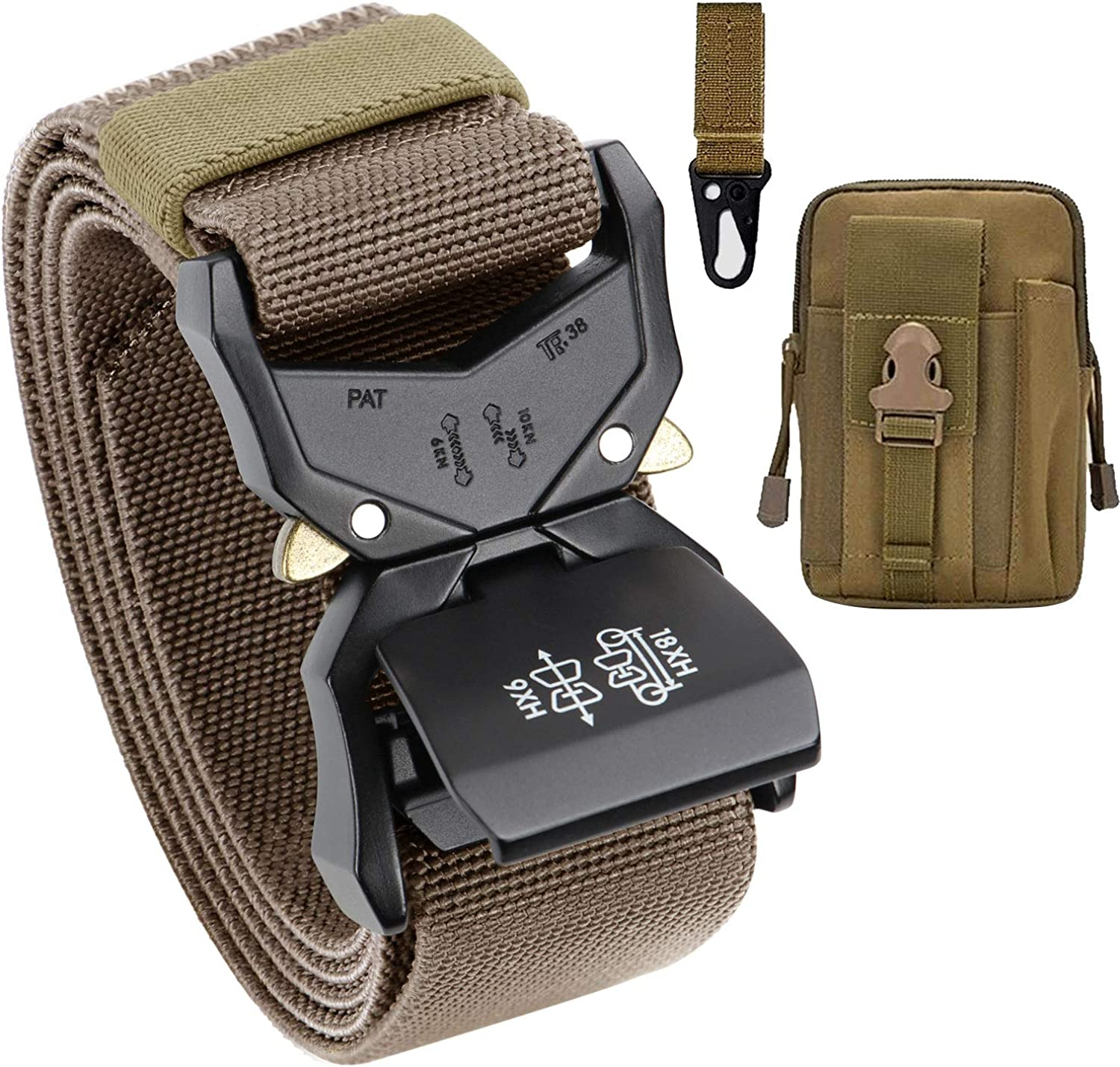 Gift with Tactical Molle Pouch and Hook BESTKEE Men Tactical Belt 1.5 Inch Heavy Duty Belt Cobra Buckle Belt Nylon Military Style with Quick-Release Metal Buckle