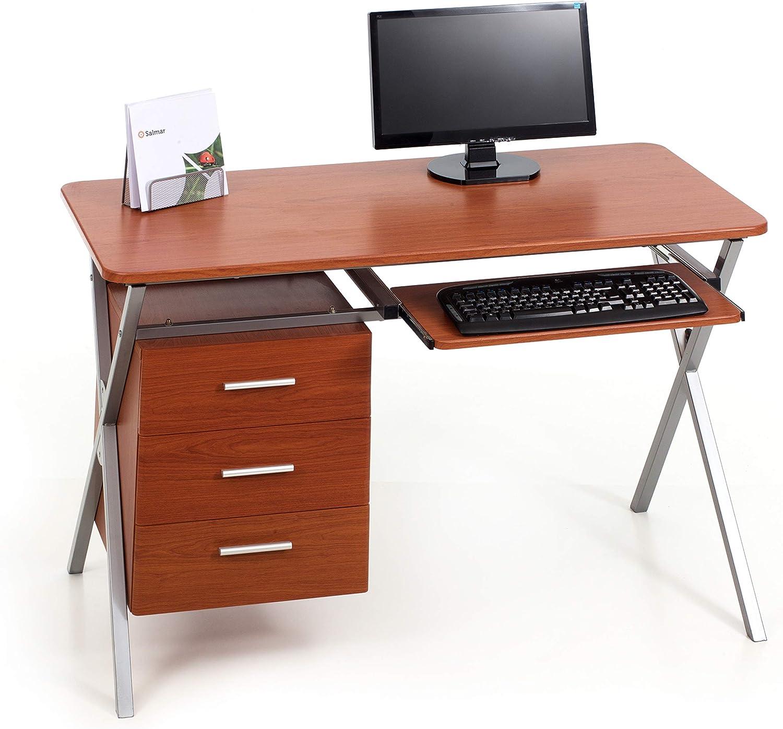 My_office Folder Escritorio, Acero/DM, Cerezo, 120 x 60 x 76 cm ...