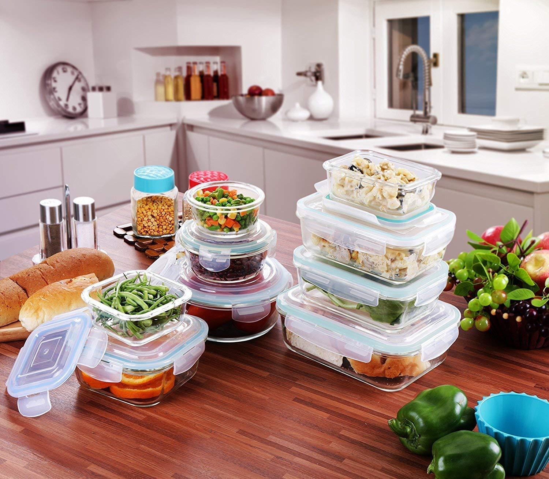 Tapas transparentes Para la Cocina o el Restaurante de Uso Dom/éstico 18 piezas Contenedor de Almacenamiento de Alimentos de Vidrio Sin BPA 9 envases + 9 tapas por Utopia Kitchen Recipiente