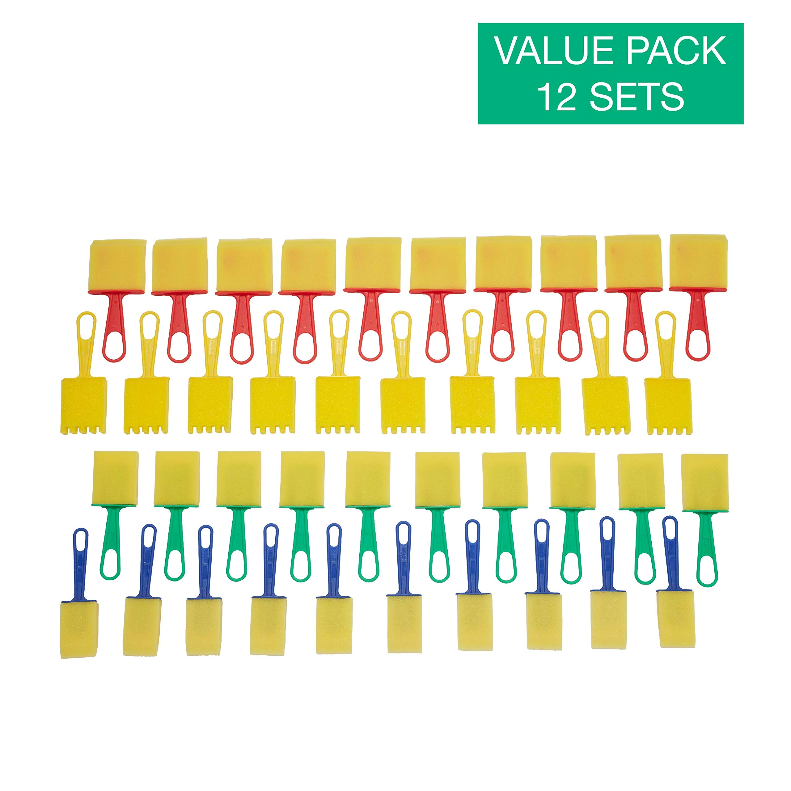 ECR4Kids Assorted Foam Paint Brush Set - Reusable Sponge Art Supplies for Kids and Toddlers - Crown and Beveled Edges (40-Pack) - 12 Sets by ECR4Kids