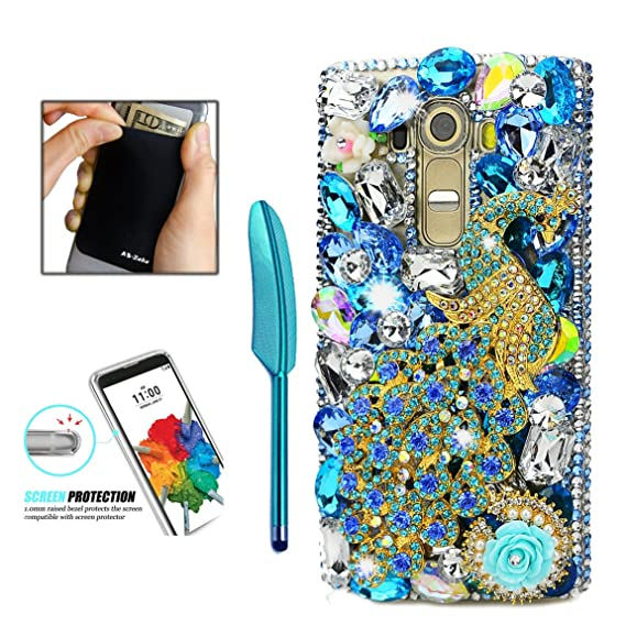 new styles 8100c d34f0 LG Stylo 3 Case - AS-Zeke 3D Handmade Bling Crystal Blue Pretty Peacock  Rose Flowers Shiny Glitter Sparkly Diamond Rhinestone Cover Case for LG  Stylo ...