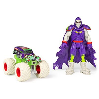 Monster Jam, Official Grave Digger 1:64 Scale Monster Truck and 5-Inch Grim Creatures Action Figure Set, Multicolor: Toys & Games
