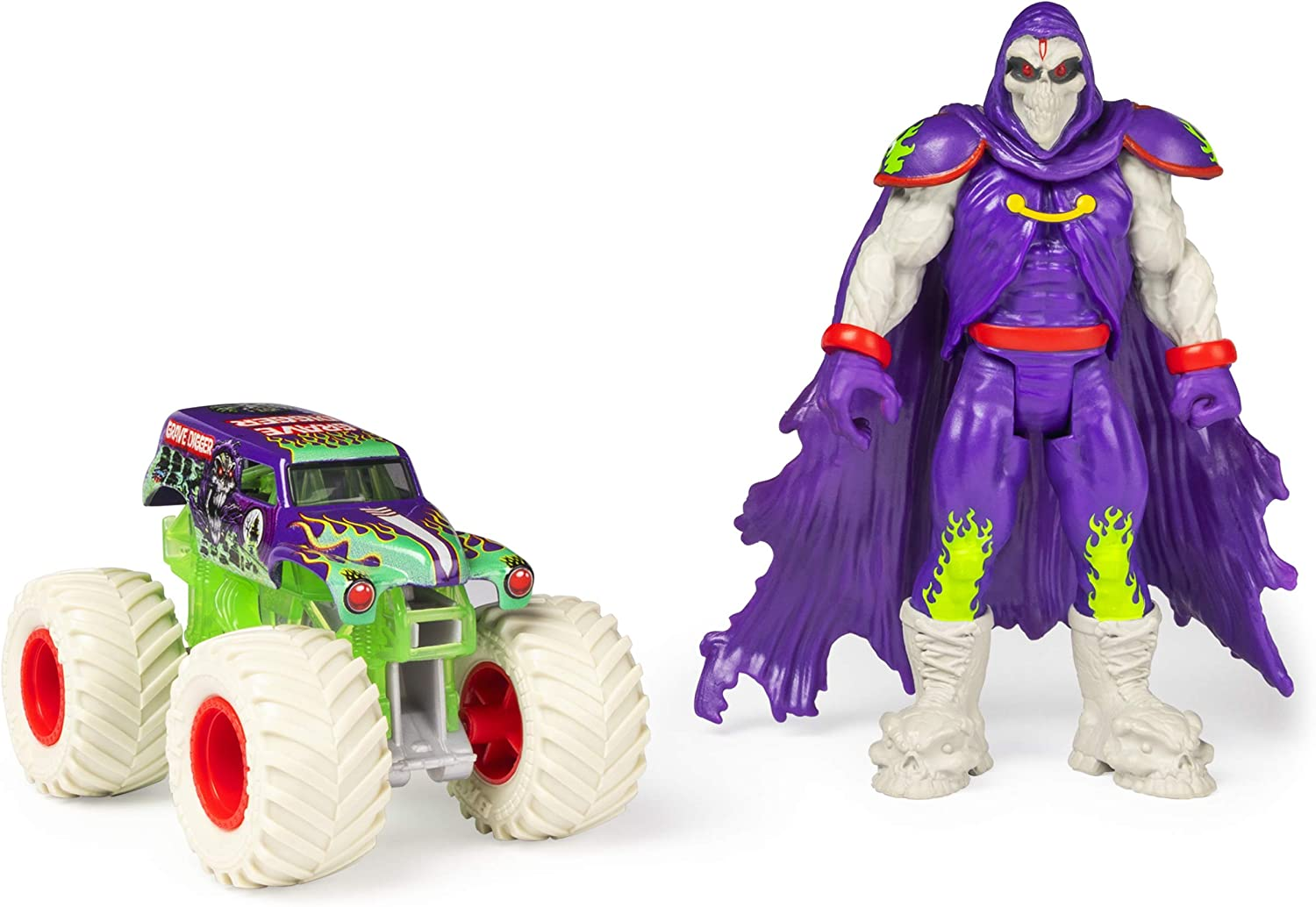 Amazon Com Monster Jam Official Grave Digger 1 64 Scale Monster Truck And 5 Inch Grim Creatures Action Figure Set Multicolor Toys Games