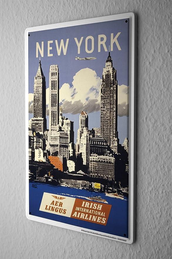 Plaque /Émaill/ée D/éco Ville Horizon de New York 20X30 cm