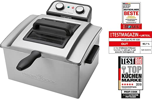ProfiCook PC-FR 1038 Freidora de acero inoxidable, 3 cestas, desmontable, 3000 W, Gris