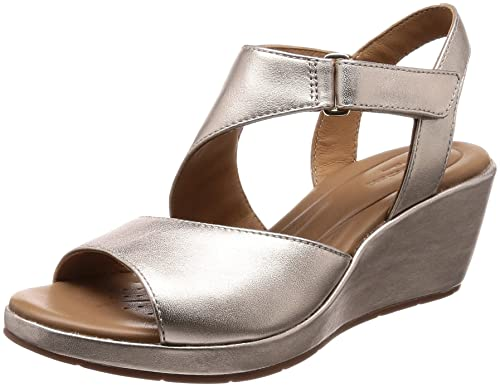 bb870ee9e0 Clarks Womens Gold Leather 'Un Plaza Sling' Mid Wedge Heel Sandals ...
