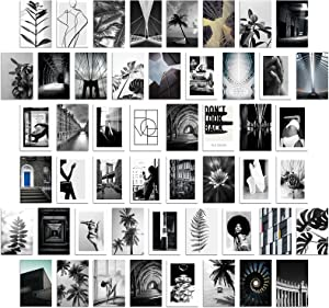 City Photo Wall Collage Kit - Black White Modern Cityscape Fashion Women Plant Wall Art Bedroom Teen Girls Aesthetic Room Decor Contemporary Building Posters Home Office Decoration 50 Set 4x6inch