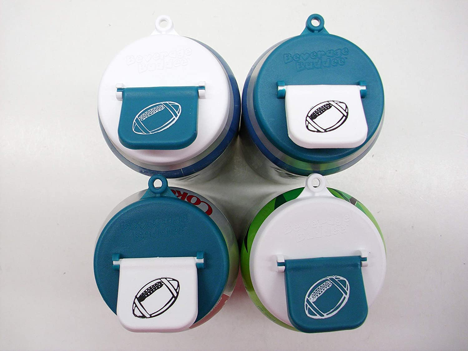 Beverage Buddee Can Cover -Football Imprint - Best Can Cover For Standard Size Soda/Beer/Energy Drink Cans - Made In The USA - BPA-PCB Free - 4 Pack (Green/White)