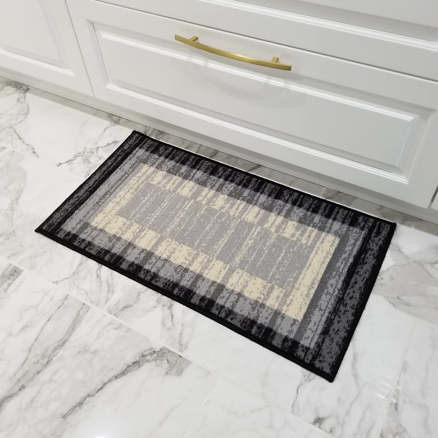 Doormat 18x30 Gray Border Stripe Kitchen Rugs and mats | Rubber Backed Non Skid Rug Living Room Bathroom Nursery Home Decor Under Door Clearance Entryway Floor Non Slip Washable | Made in Europe