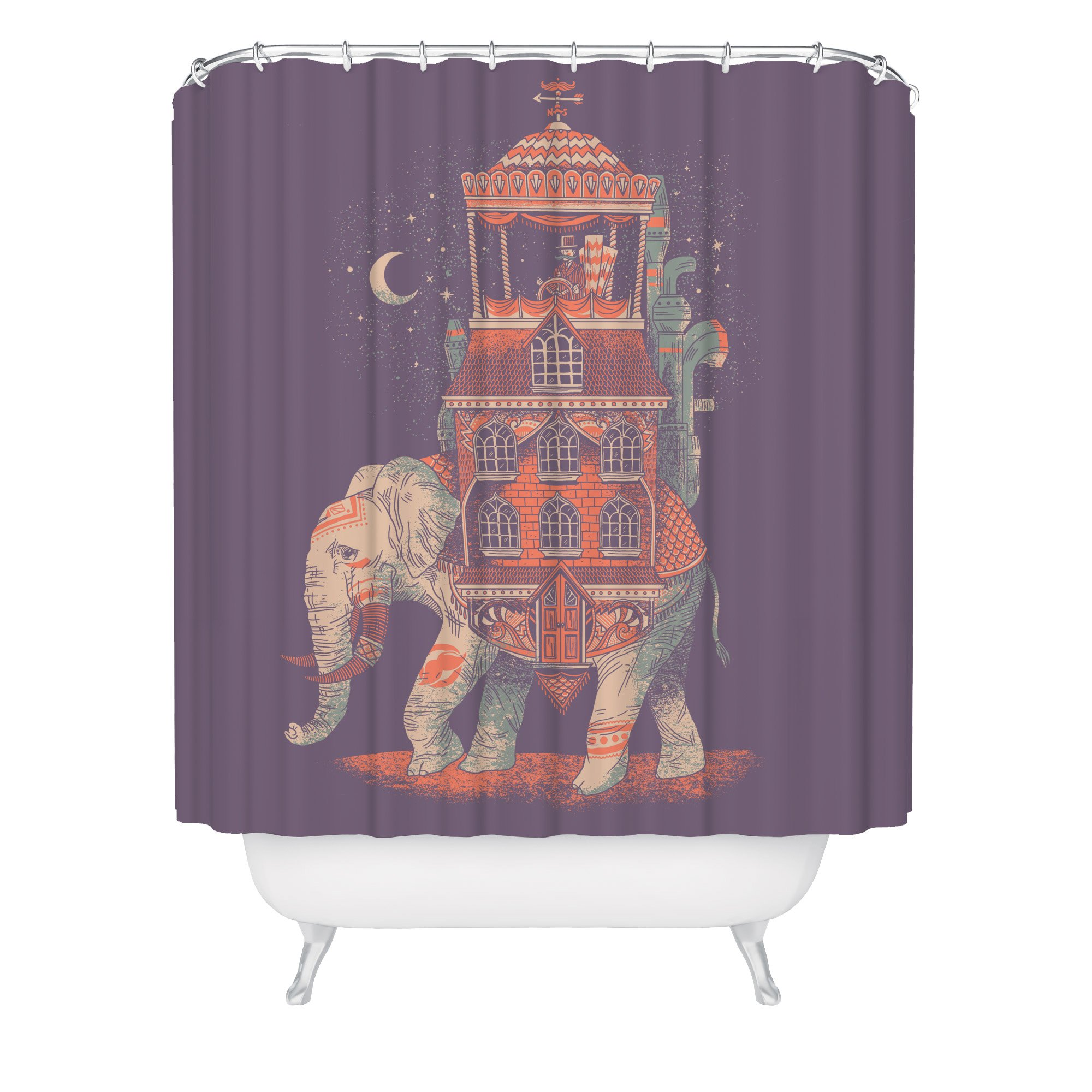 Fuzzy Ink Elephant Shower Curtain Boho Bathroom Decor Indian Theme Shower Curtain Elephant Wet Room Curtain Quirky Chic Curtains Mildew Resistant Fabric Bathroom Décor