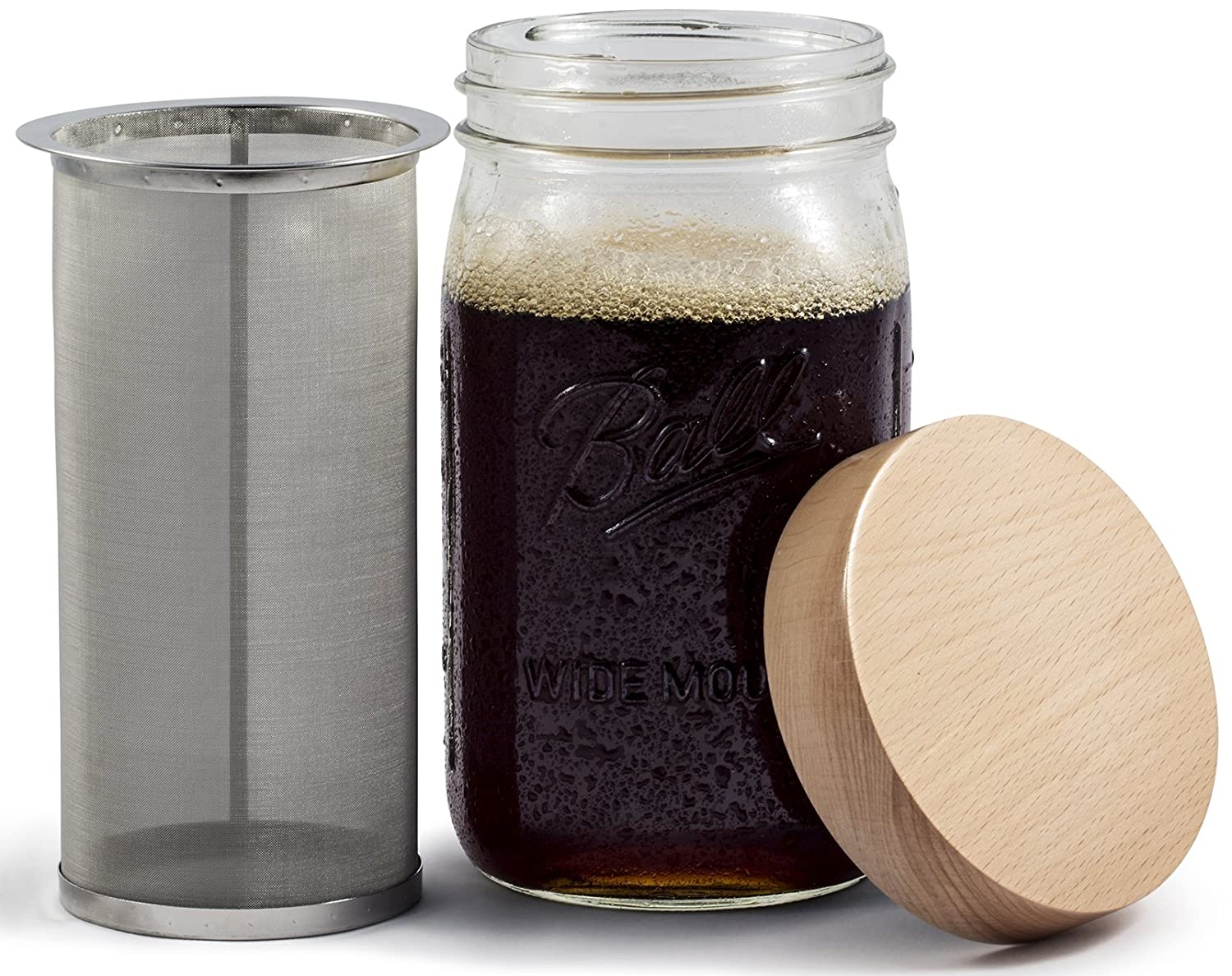 Mason Jar Cold Brew Coffee Maker & Iced Tea Maker | Quart (32oz) | Cold Brew System With Oak Wood Lid & Stainless Steel Filter | by Simple Life Cycle (Oak Wood, 32oz) CB32
