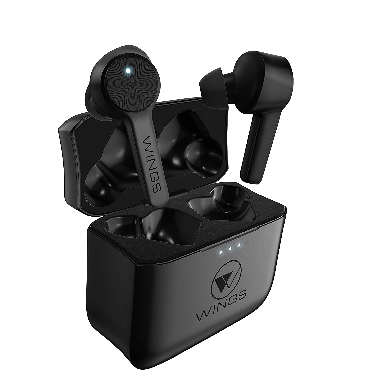 Wings Techno Bluetooth 5.0 True Wireless Earbuds, Dual Mics, 24 Hour Playtime (Black)