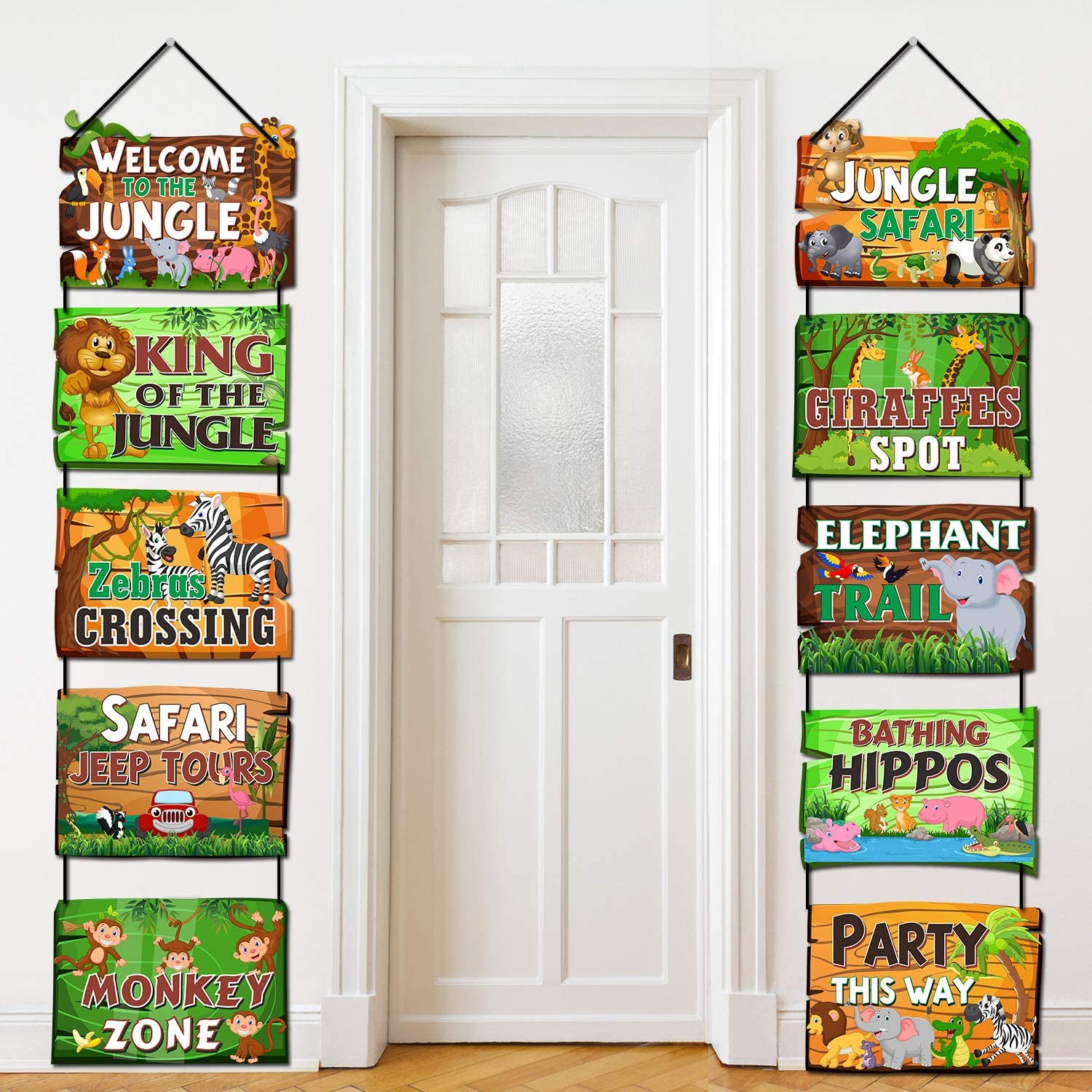 Safari Jungle Animals Party Signs Jungle Theme Party Supplies Wild Animals Zoo Animals Birthday Party Baby Shower Yard Decorations Photo Props Cutouts Set of 10