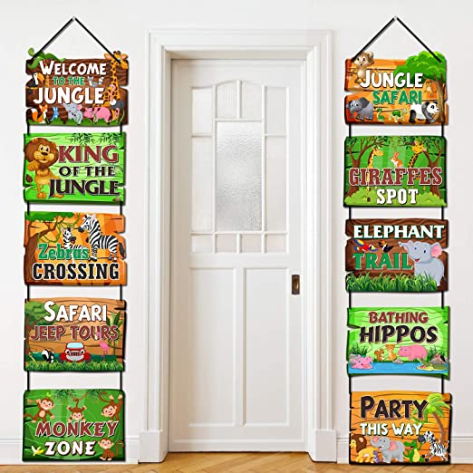 Amazon.com: Safari Jungle Animals Party Signs Jungle Tema ...