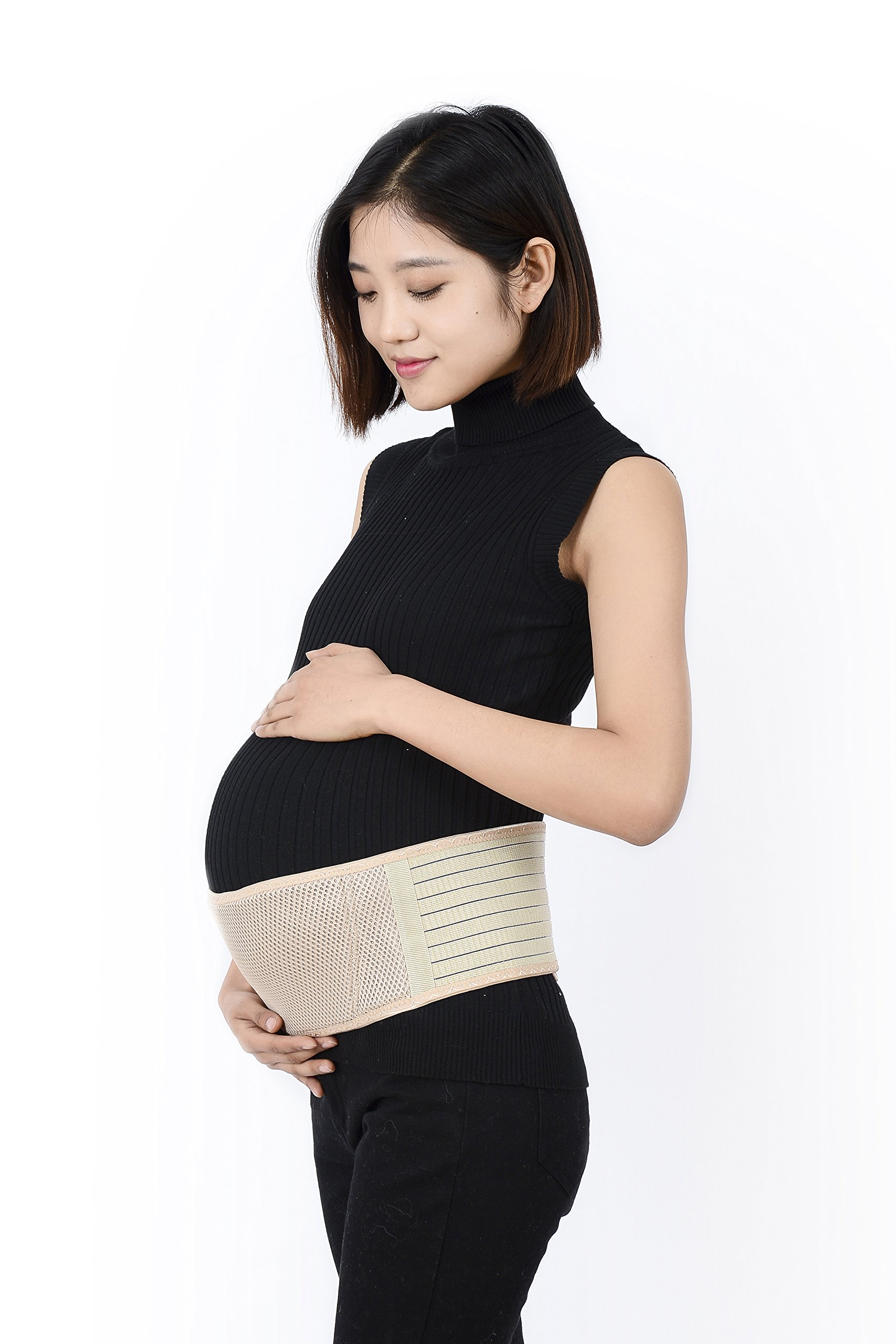 Maternity Pregnancy Belt by Zapdaba - Soft Breathable Abdominal Binder - Premium Quality Belly Band - Relief from Lower Back, Pelvic, Hip and Sciatica Pain. One Size, Nude.