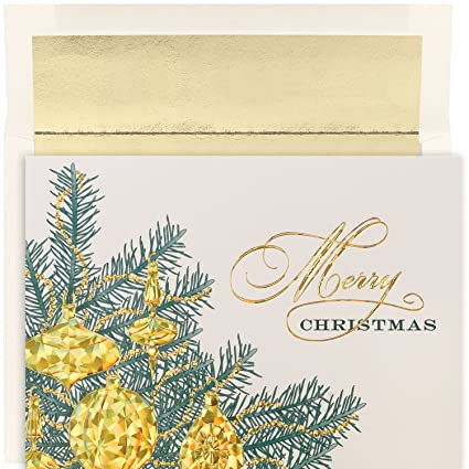 masterpiece studios holiday collection boxed merry christmas cards golden baubles 16 cards16 - Foil Christmas Cards