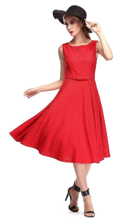 Acevog Vintage Hepburn Style 1950s Rockabilly Swing Evening Dress with Belt - Red -: Amazon.co.uk: Clothing