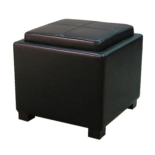 New Pacific Direct Venzia Bonded Leather Square Ottoman Ottomans Cubes, Small, Black