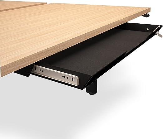 Unterbau-Schublade mit Schloss 584 x 290mm aus Metall mit Filzeinlage,  Farbe:Schwarz
