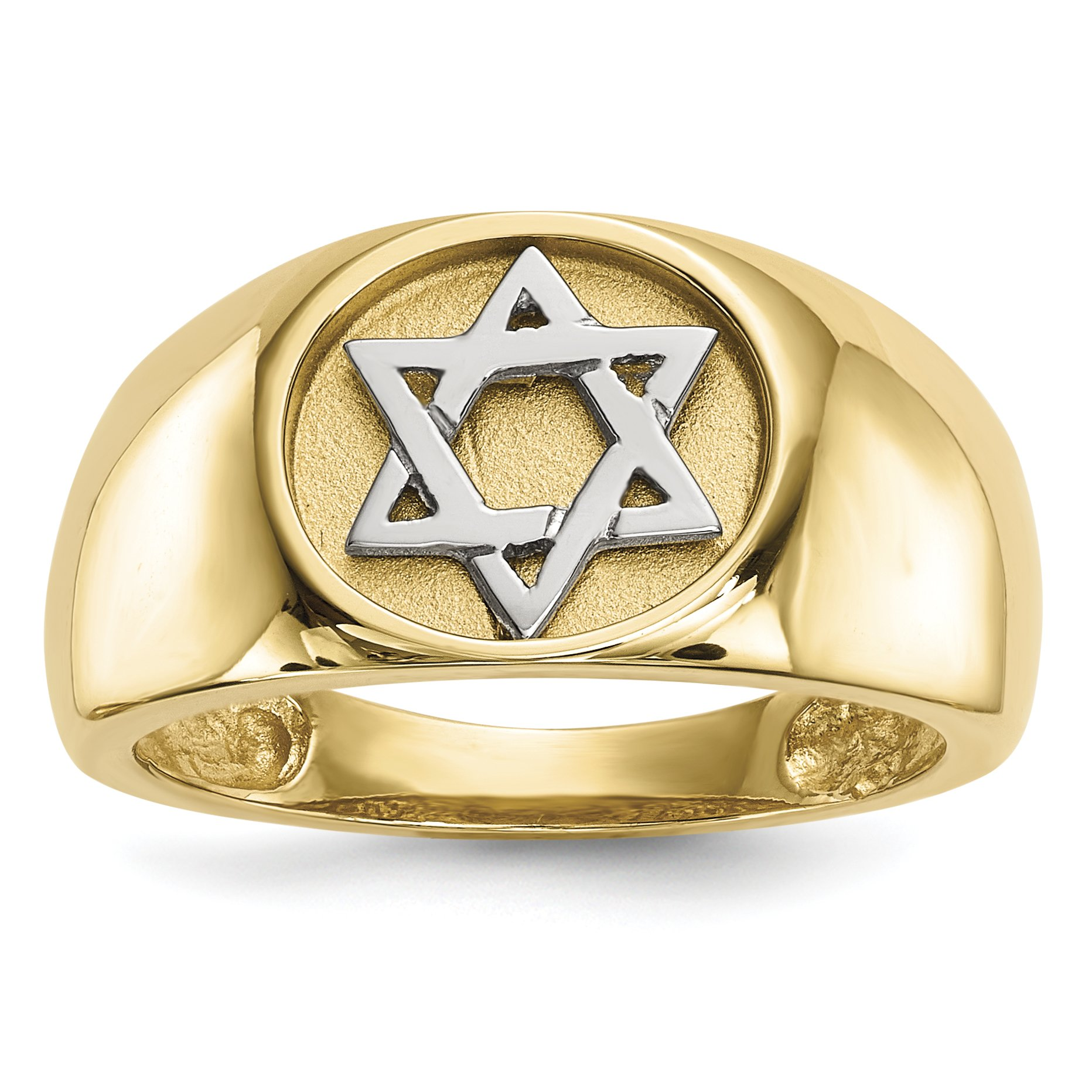 ICE CARATS 14k Yellow Gold Two Tone Jewish Jewelry Star Of David Band Ring Size 7.00 Religious Fine Jewelry Gift Set For Women Heart by ICE CARATS (Image #1)