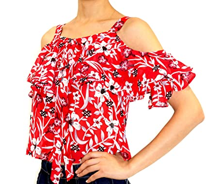 c3d30b2883757 Juan LLC Women Blouse Cold Shoulder Short Sleeves with Ruffle Detail ...
