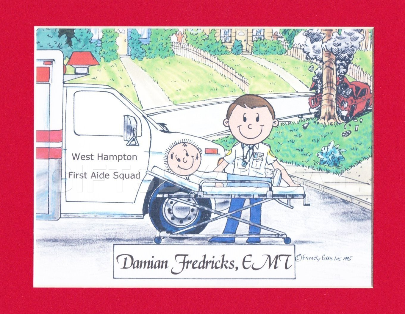 EMT Gift Personalized Custom Cartoon Print 8x10, 9x12 Magnet or Keychain