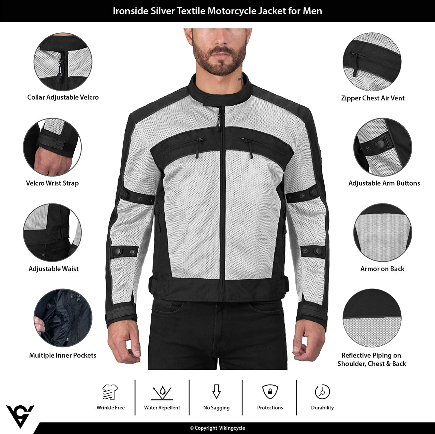 CE Approved Breathable Armor for Bikers Viking Cycle Ironside Textile Mesh Motorcycle Jacket for Men Adjustable