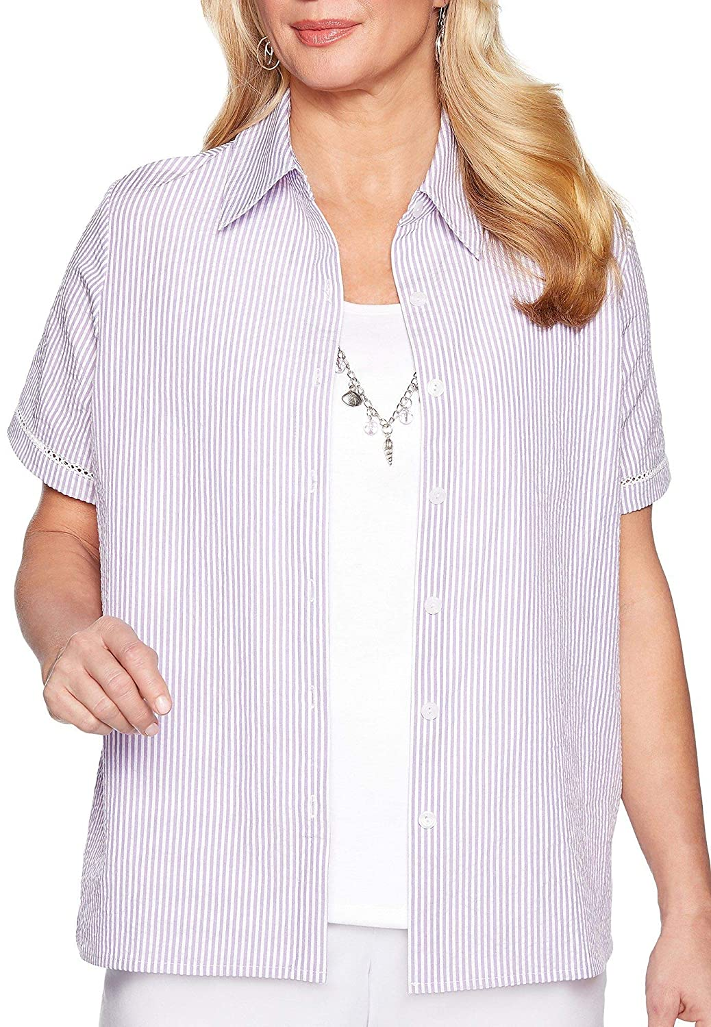Alfred Dunner Womens Catalina Island Seersucker Two for One Top