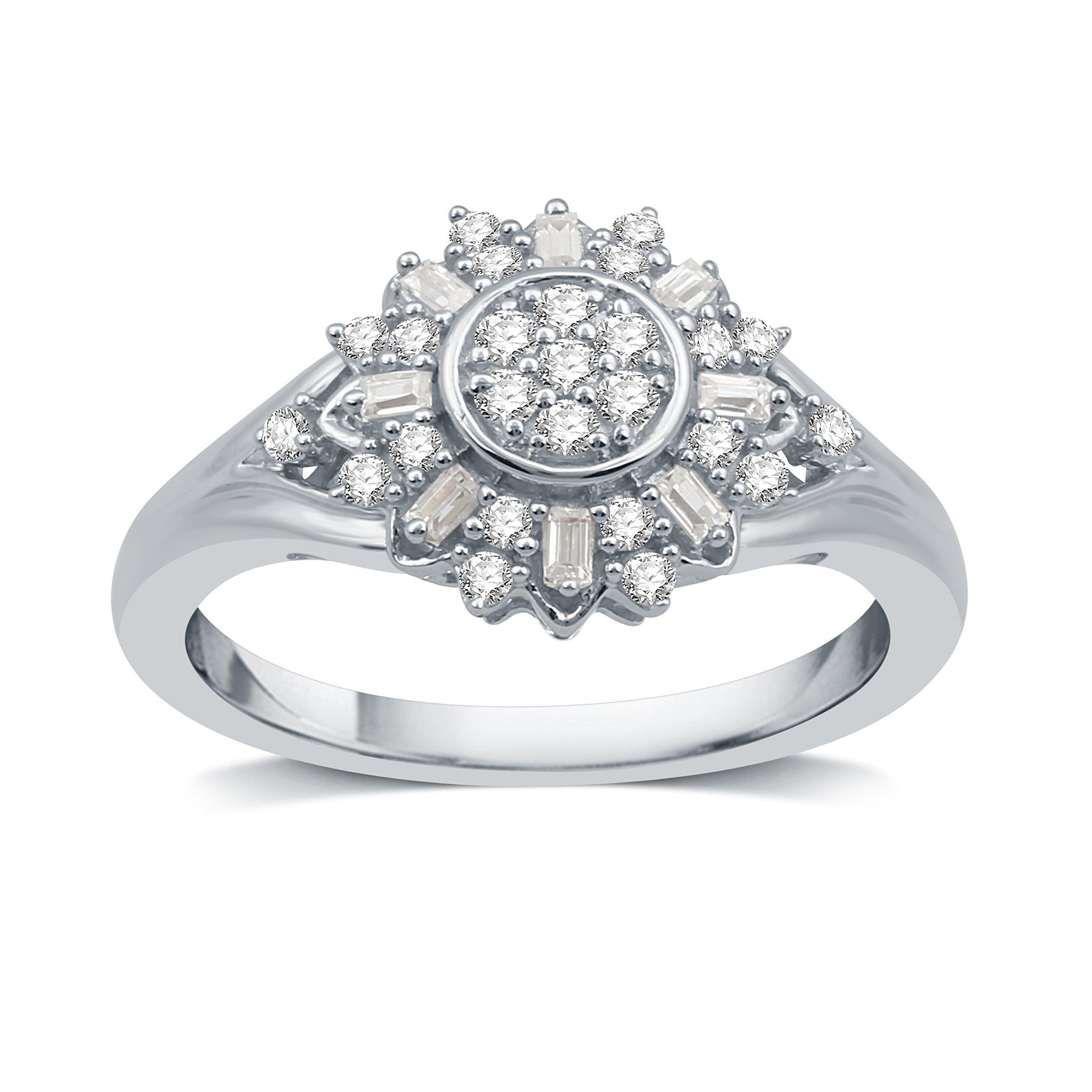 DeCarat 1/3 CT.T.W. Diamond Sterling Silver Sunflower Shaped Wedding Ring