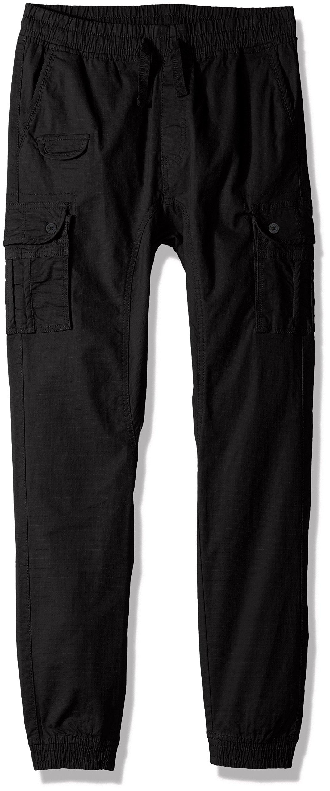 Southpole Big Boys' Washed Stretch Ripstop Cargo Jogger Pants, Black, Medium