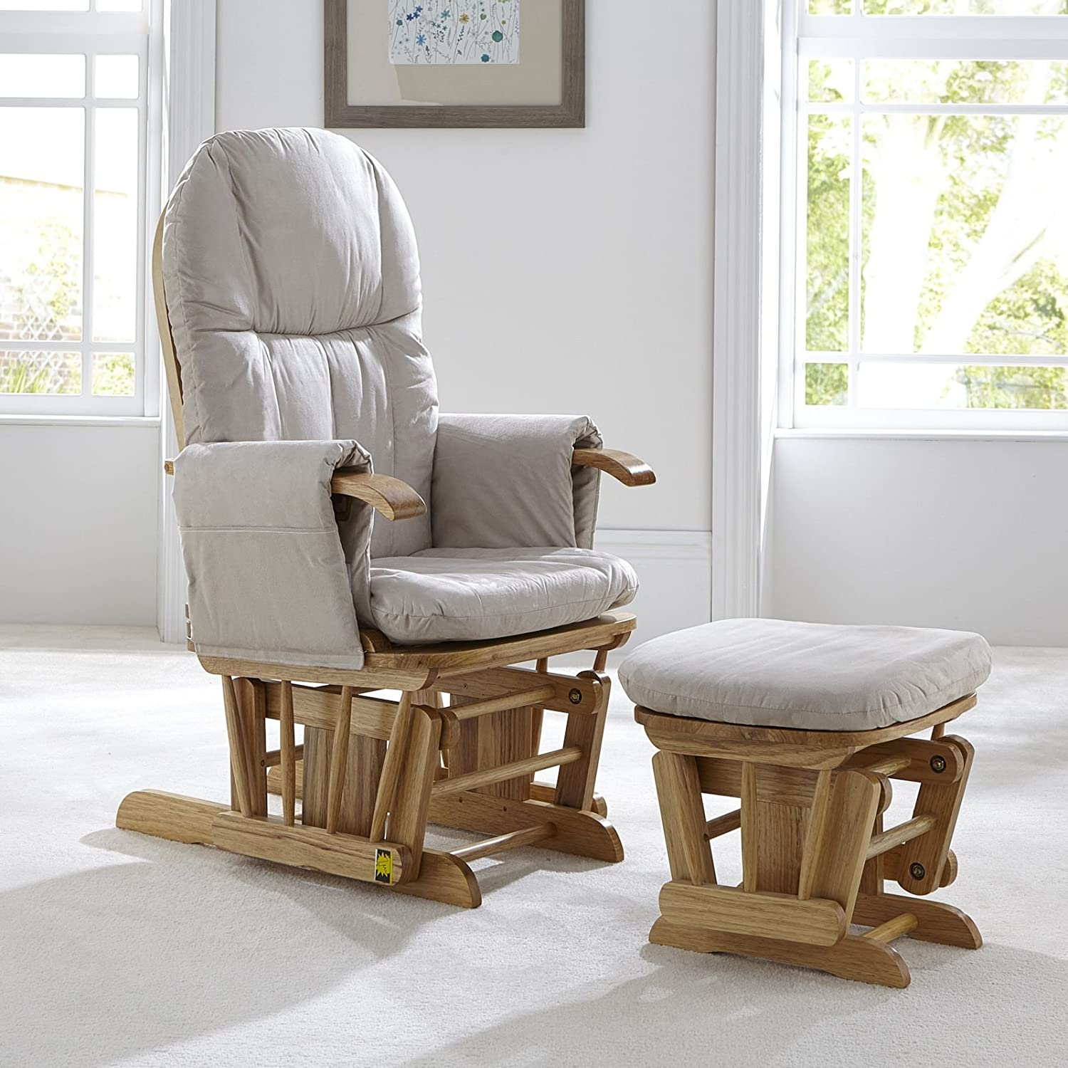 Tutti Bambini Deluxe Padded Smooth Glider Nursing Chair & Foot Stool with 3 Reclining Positions - Natural Wood Frame with Beige Soft Fabric