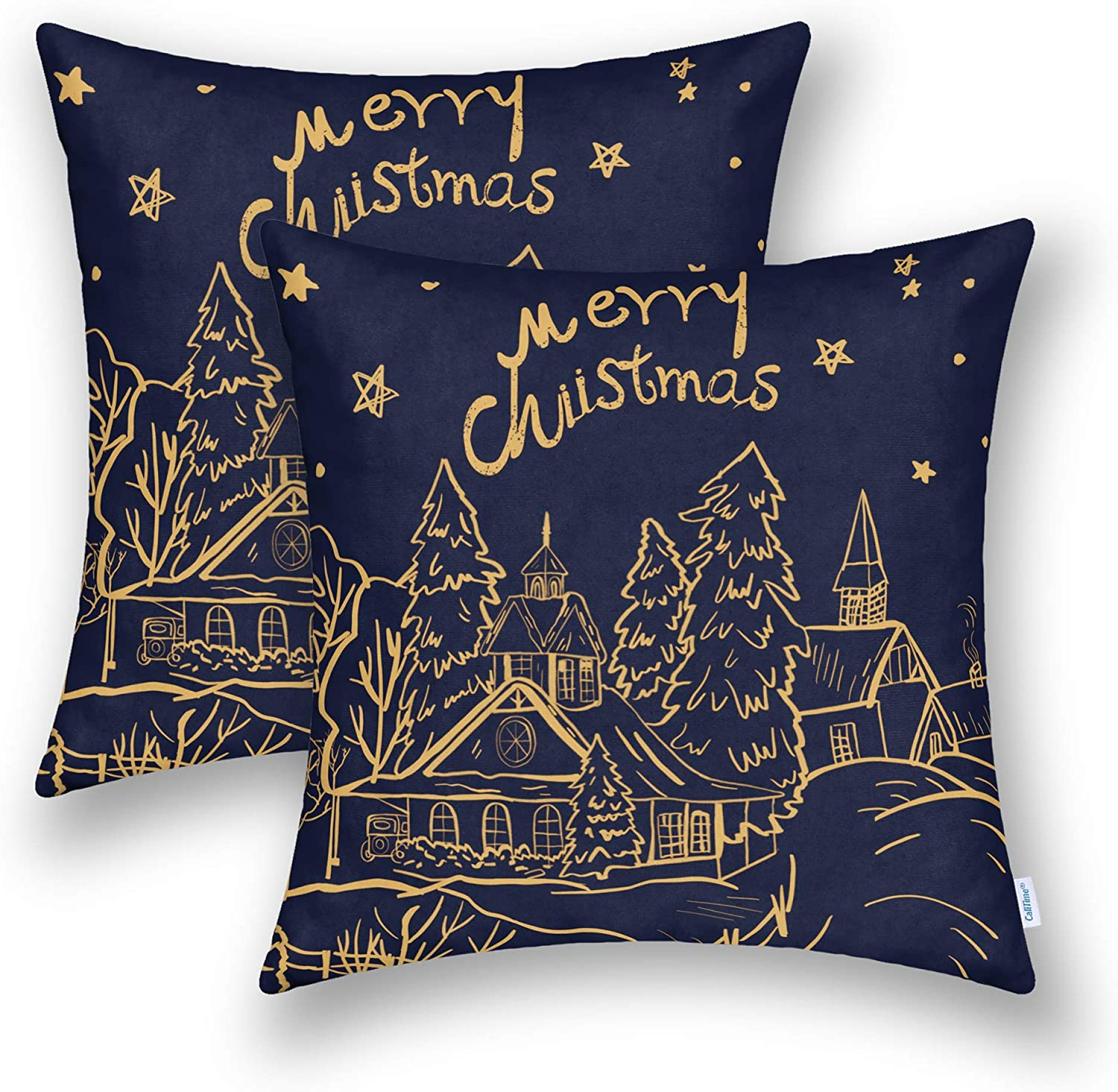 CaliTime Throw Pillow Cases Pack of 2 Cozy Fleece Christmas Night Village House Tree Printed Cushion Covers for Couch Sofa Bedroom 18 X 18 Inches Navy Blue