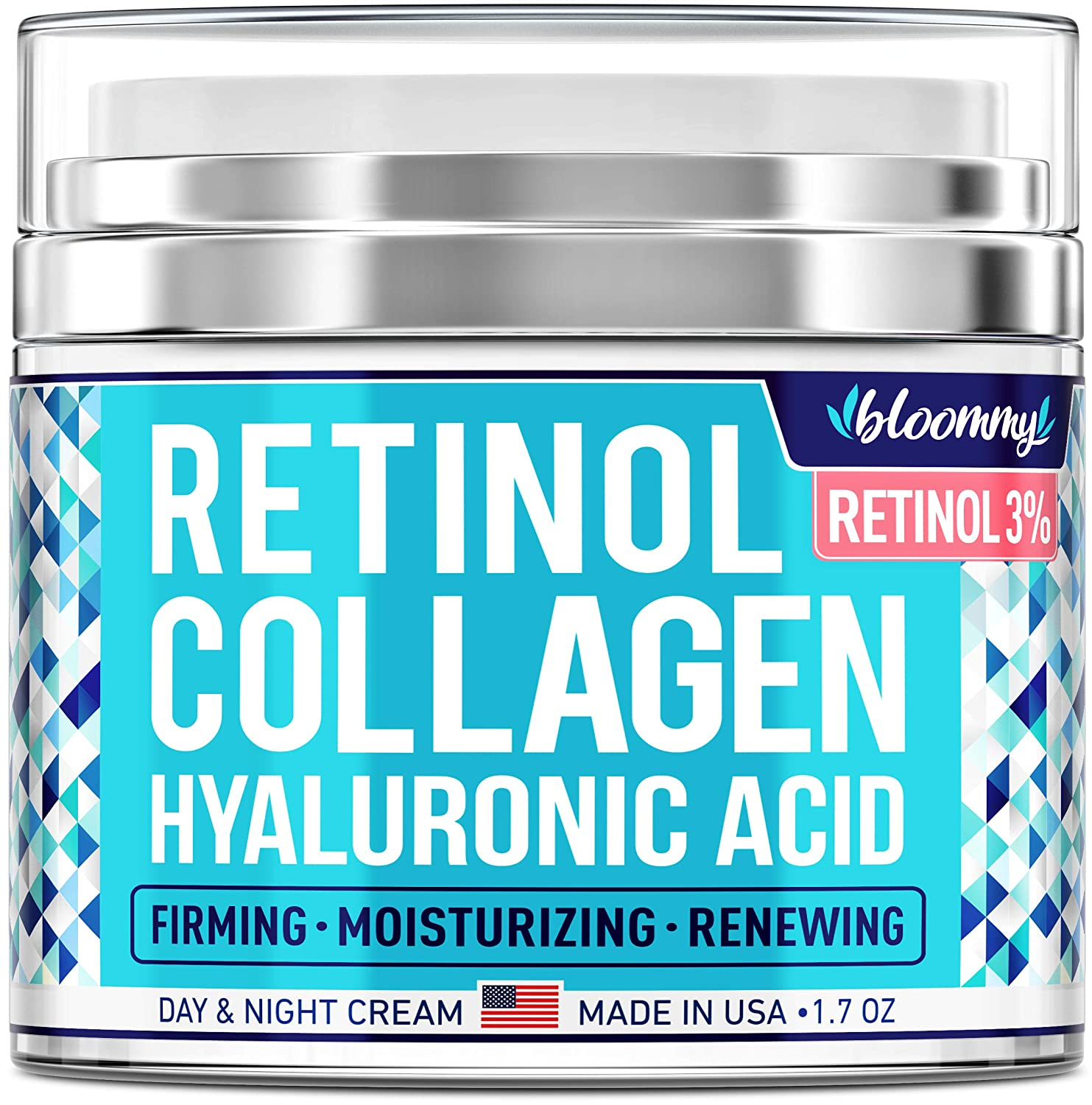 Collagen & Retinol Cream for Face with Hyaluronic Acid - Collagen Anti Aging Cream - Retinol Moisturizer for Face - Made in USA - Anti Wrinkle Facial Cream - Day & Night Moisturizer for Face