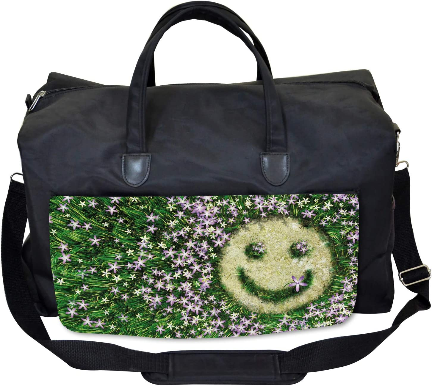 Smiling Emoticon on Grass Large Weekender Carry-on Ambesonne Garden Gym Bag