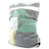 Hangerworld 60 x 45 cm Polyester High Temperature Safe in Washing Machine or Tumble Dryer Professional Mesh Net Laundry Washing Bag with Zip, White