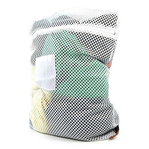 Hangerworld Lot 60x 45cm Polyester haute température en toute sécurité en machine à laver ou sèche-linge professionnel en maille filet à linge à laver Sac avec fermeture Éclair, Blanc