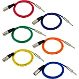 """GLS Audio 3ft Patch Cable Cords - XLR Male To 1/4"""" TRS Color Cables - 3' Balanced Snake Cord - 6 PACK"""