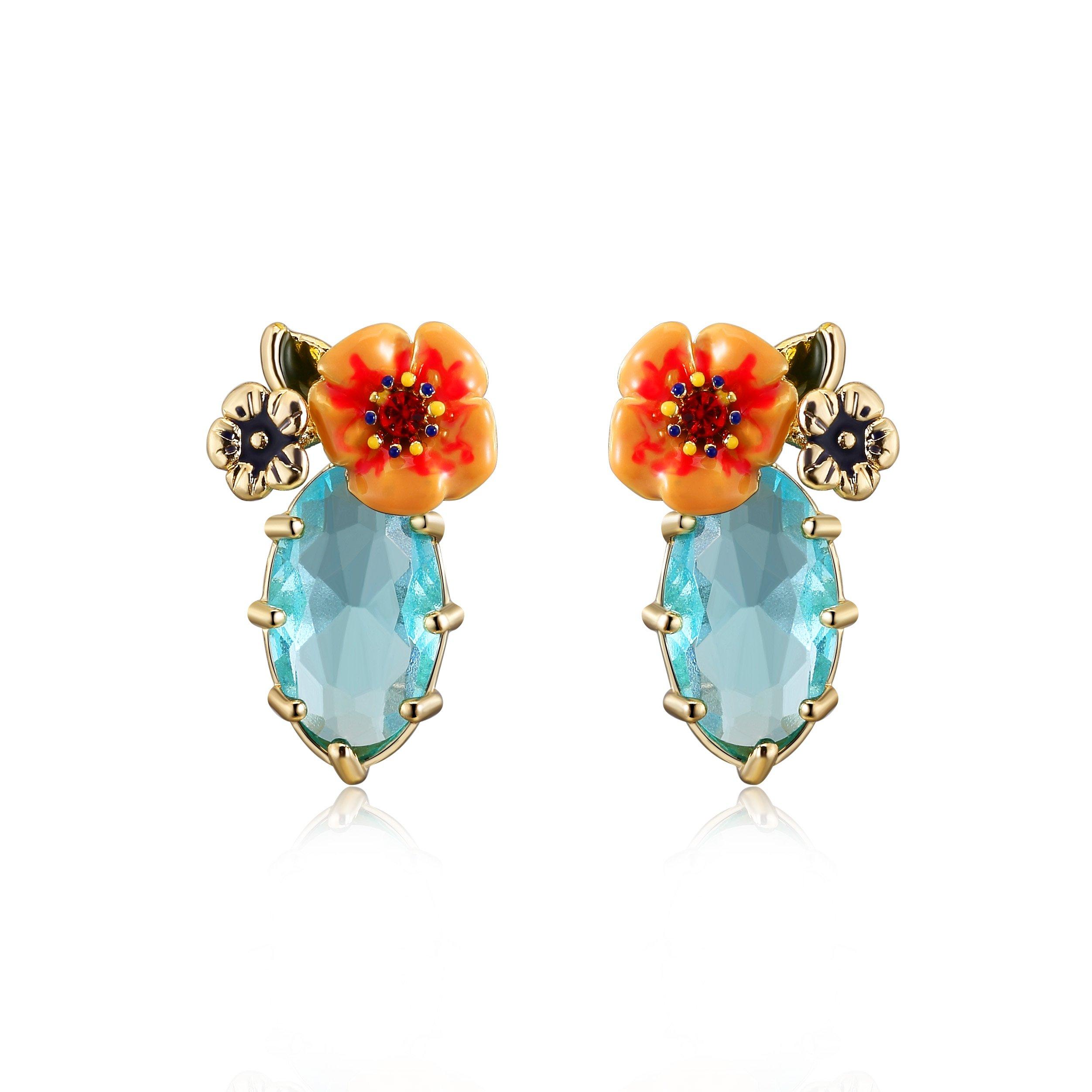 Ellena Rose Dainty Flower Bouquet Earrings, Sky Blue Stud Earrings with Yellow and Orange Flowers (Sky Blue)