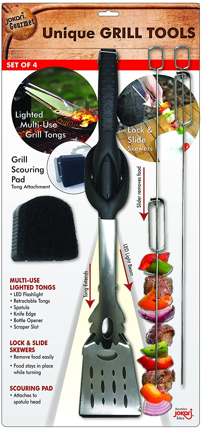 Jokari Pro Grade 6 in 1 Grill Set Comprehensive Industrial Strength Tool Includes Easy Grip Handle, Spatula, Adjustable Tongs, Knife Blade, Scraper, LED Flashlight, BBQ Skewers, and Bottle Opener.