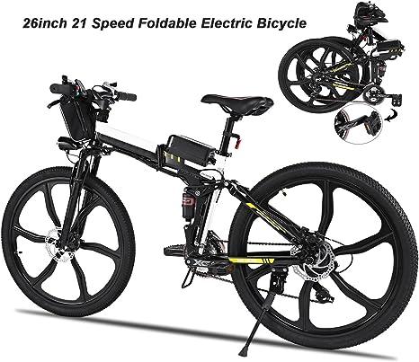 Aimado Bicicletas Electricas de Montaña Plegable, E-Bike MTB 250W 30 km/h, Aluminio, Batería de Litio 36V, Shimano 21, Ruedas Grandes de 26 Pulgadas con Luz Delantera LED, Enchufe de la EU【EU Stock】: