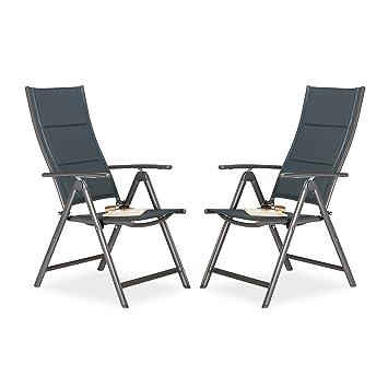 2x Gartenstuhl Im Set, Hochlehner Klappbar, Gepolstert, Rückenlehne  Verstellbar, Klappstuhl Fürs Camping