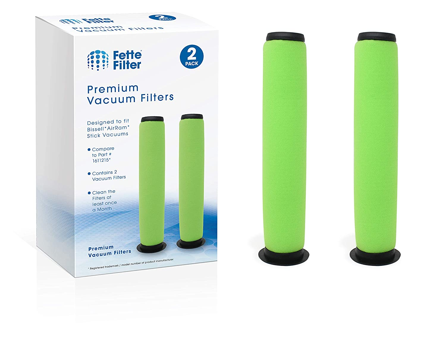 Fette Filter - Vacuum Filter Compatible with Bissell AirRam. Compare to Part # 1611215. (Pack of 2)