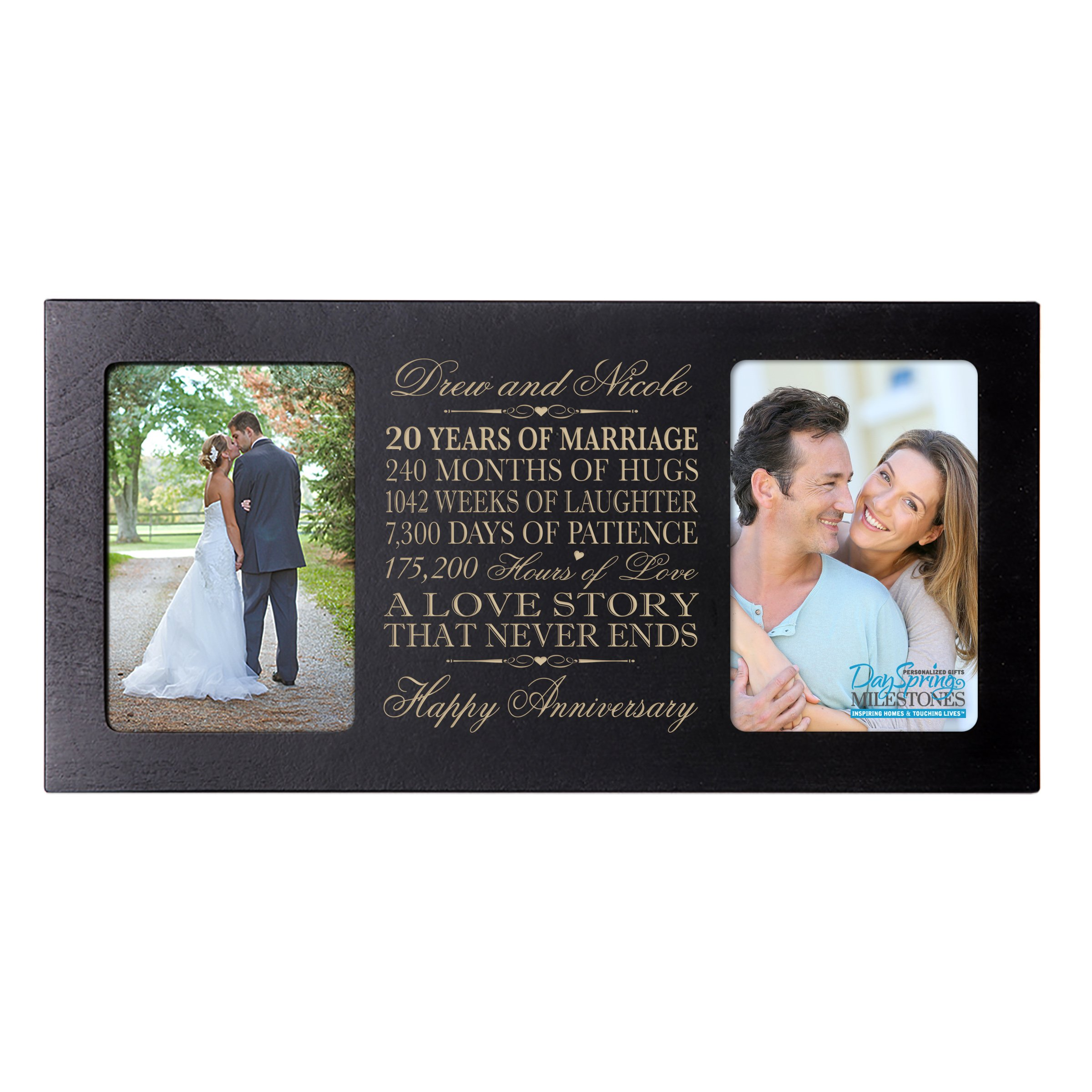 LifeSong Milestones Personalized Twenty Year her him Couple Custom Engraved Wedding Celebration for Husband Wife Girlfriend Boyfriend Photo Frame Holds Two 4x6 Photos (Black)