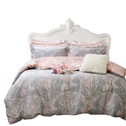7897db083fa3 TEALP Damask Bedding Sets 100% Cotton Blush Pink and Grey Duvet Cover Set  Super King Size Pack of 3: Amazon.co.uk: Kitchen & Home